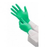 Перчатки нитриловые, неопудренные 100 шт/упак (MO) зеленые S